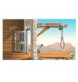 Location of prison and scaffold in Wild West vector image