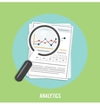 Magnifying glass and chart vector image