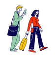 male and female characters with luggage boarding vector image vector image