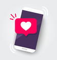 martphone with heart emoji speech bubble vector image