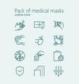 pack medical masks outline iconset vector image vector image