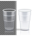 plastic cup transparent package blank vector image vector image