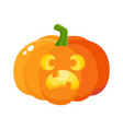 Pumpkin jack-o-lantern with scared face cartoon