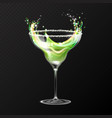 realistic cocktail margarita glass vector image