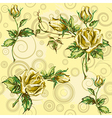rose pattern on yellow vector image vector image