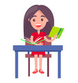 schoolgirl studying at desk vector image vector image
