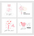 set of valentines day tag sweet pink color hand vector image vector image