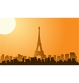 Silhouette of eiffel tower at sunrise vector image vector image