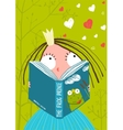 Smart Cute Little Girl Reading Fairy Tale Book vector image vector image