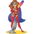 Super hero Mom - mother multitasking cleaning vector image
