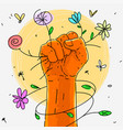 symbol fist rebellion with flowers vector image vector image