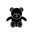 teddy bear cute icon black vector image