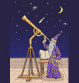 the astronomer at the telescope vector image vector image