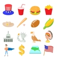 Usa icons set cartoon style vector image vector image
