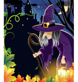 Wicked witch near the castle vector image
