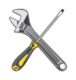 Wrench and yellow screwdriver vector image vector image