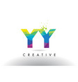 yy y colorful letter origami triangles design vector image