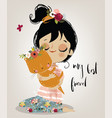 cute summer girl with cat vector image