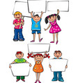 Kids holding blank placard boards vector image