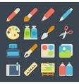 art flat icons set vector image