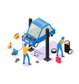 3d isometric man with repair equipment on car vector image vector image