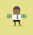 african businessman serve money on the plate vector image vector image