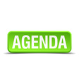 Agenda green 3d realistic square isolated button vector image vector image