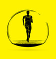 athlete runner running front view graphic vector image vector image