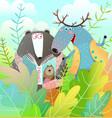 bear and moose reading book amusing animals vector image