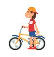 boy in baseball cap standing with bike teenager vector image vector image