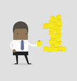 businessman with number one yellow sticky notes vector image