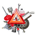 car parts with triangle sign vector image