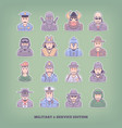 cartoon people icons military and enforcement vector image