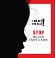 child with humain trafficking sign vector image vector image