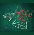 Christmas Bell on green chalkboard background vector image vector image