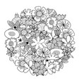 circle shape coloring page with doodle flowers vector image vector image