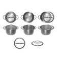 collection of empty metal pots with glass lids in vector image
