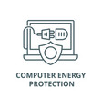 computer energy protection line icon vector image
