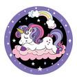 cute cartoon baby unicorn circle vector image