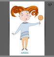 cute girl in the form of zodiac sign aries vector image