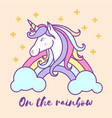 cute unicorn cartoon character design vector image