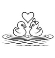 Duck cartoon outline vector image