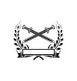 emblem template with crossed swords design vector image vector image