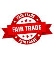 fair trade ribbon fair trade round red sign fair vector image vector image