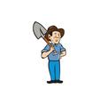 Farmer Shovel Shoulder Standing Cartoon vector image vector image