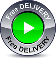 Free delivery round button vector image vector image