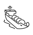 Gas tanker line style icon vector image