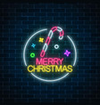 glowing neon christmas sign with christmas candy vector image vector image