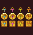 golden cross ankh with colored precious vector image vector image