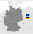 grey political map germany vector image
